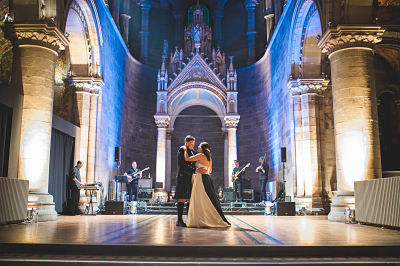 Bride and groom dancing at Mansfield Traquair